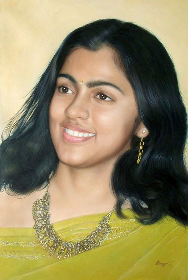 a custom oil pianting of an indian lady