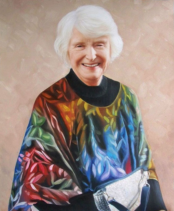 a custom oil painting of elderly woman smiling