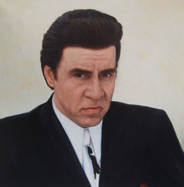 a custom oil painting of a man in a suit