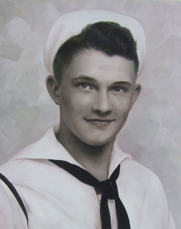 a custom oil black and white painting of a sailor