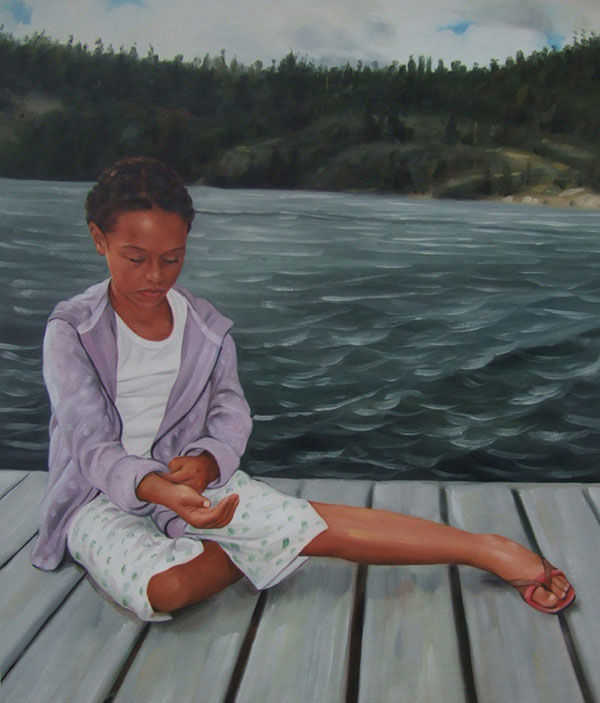 an oil portrait painting of a young black woman on dock