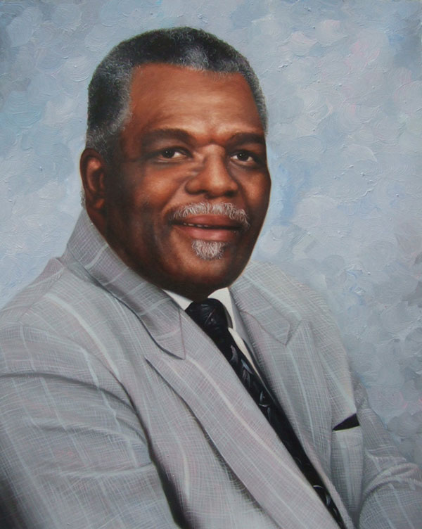 a custom oil painting of a black man in grey suit