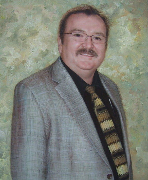 a custom oil painting of a man with a mustache and glasses