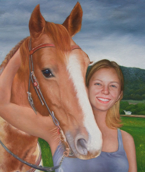 Realistic oil painting of a horse
