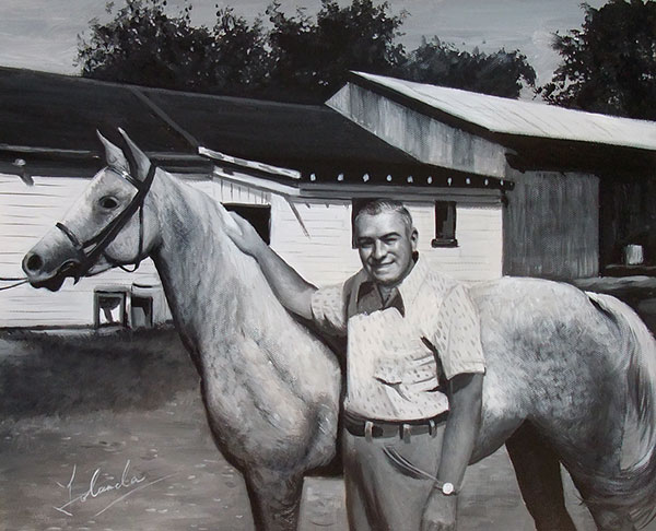 custom acrylic black and white portrait of man and horse