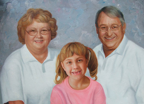 a custom oil family painting