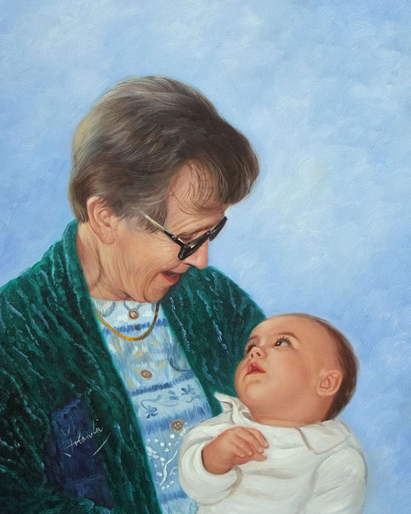 an oil painting of grandmother seeing her grandkid