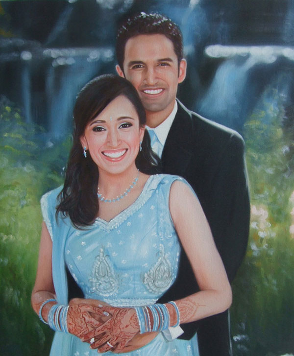 photo to oil painting of happy couple by waterfall
