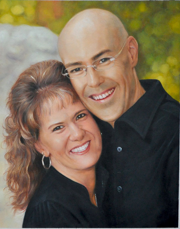paint a picture of happy couple bald man hugging woman