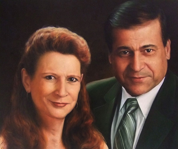 oil painting of couple in suit and tie