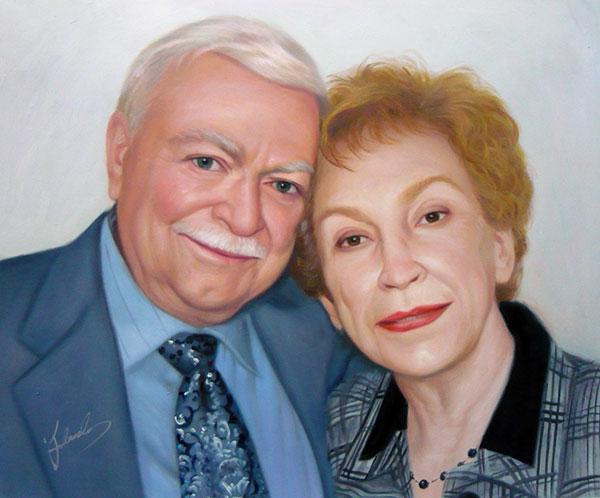 photo to art oil canvas elder white couple