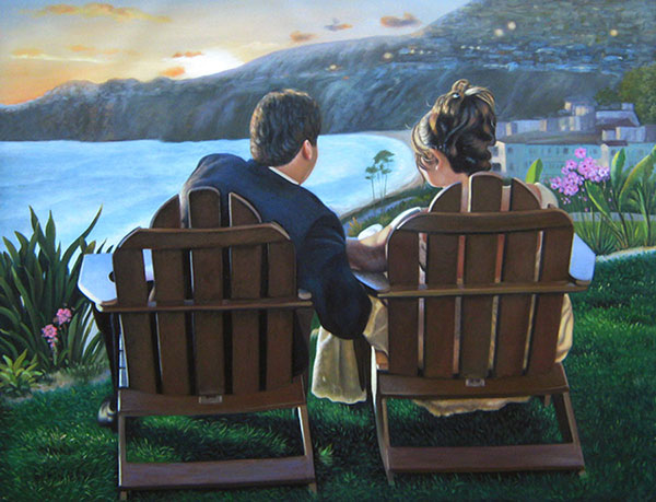 paint your photo couple sitting by beach sunset