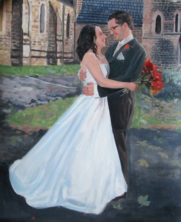 Pastellgemälde vom Hochzeitsfoto