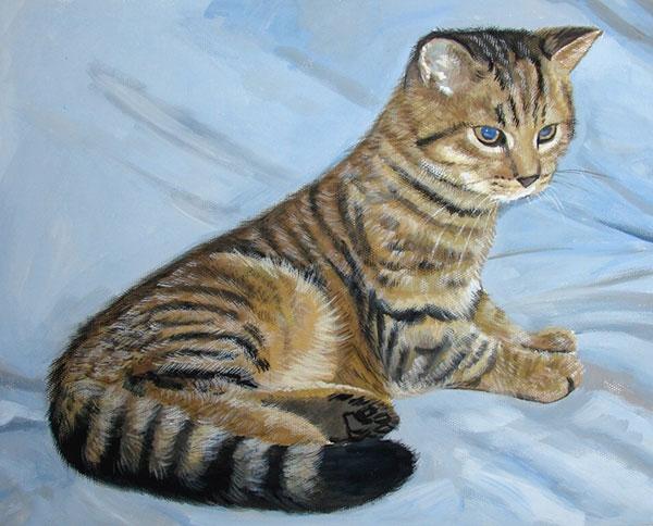 Pastelgemälde von einer Katze