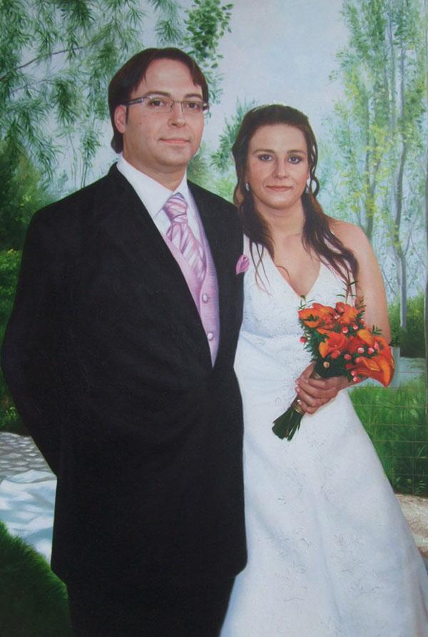 foto de la boda se convirtió en una pintura al óleo