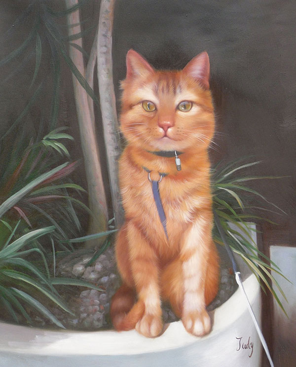 pintura al óleo de un gato