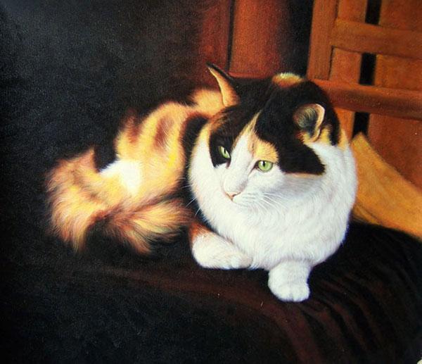 foto del gato como la pintura al óleo