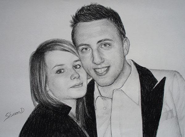 Portrait réalisé au fusain de deux amis