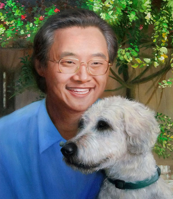 oil painting of Asian man hugging white dog