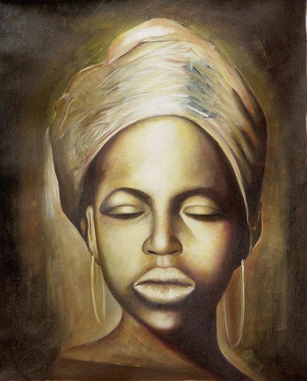 Acrylgemälde einer jungen afrikanischen Frau