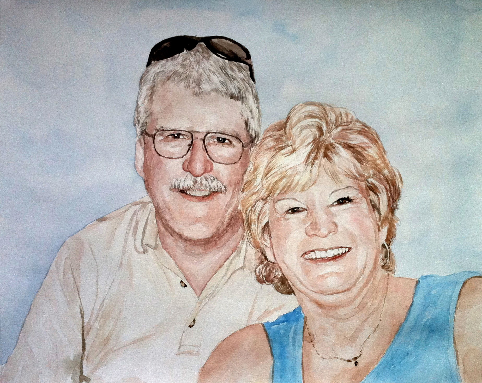 custom watercolor painting of a happy couple