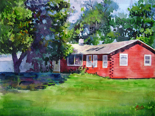 custom watercolor painting of a red house