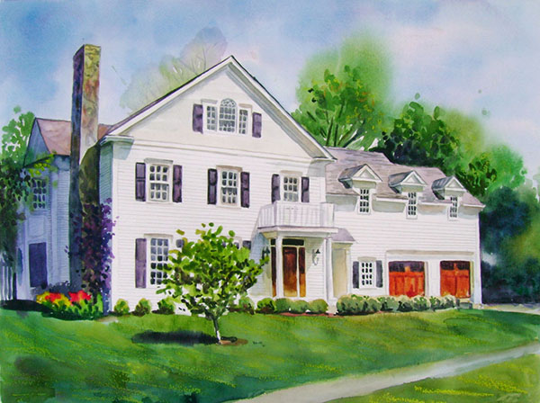 custom watercolor painting of a big white house