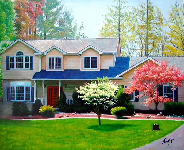 Handmade oil painting big house with blue trim