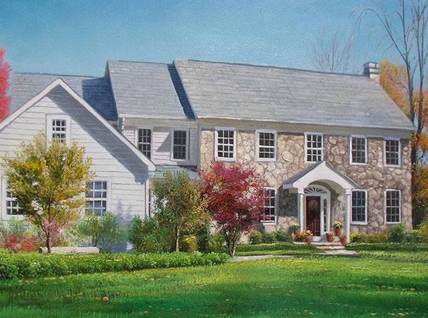 Handmade oil painting stone brick house