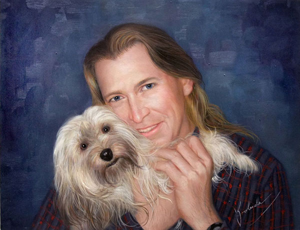 Custom oil painting of ownder hugging longhair dog