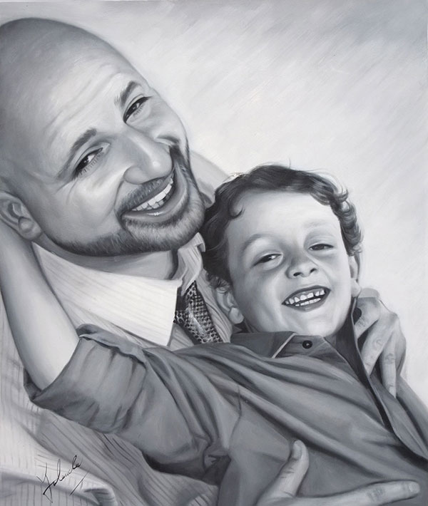 family oil portrait - father and child