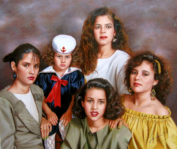 a custom oil painting of latino family