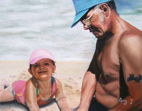 a custom oil painting of grandfather and kid playing in sand