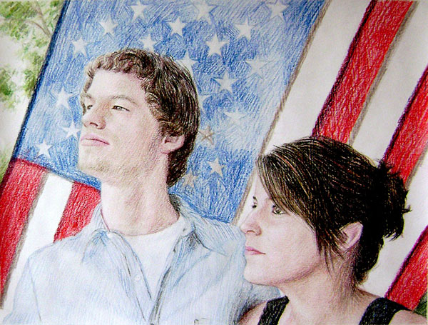 colored pencil drawing of a couple in front of American flag