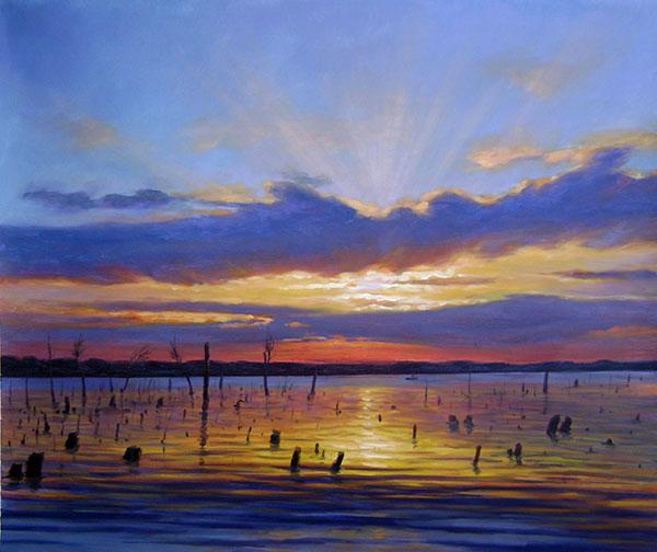 oil portrait of a beautiful sunset