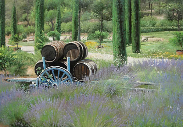 oil painting of barrels and fields