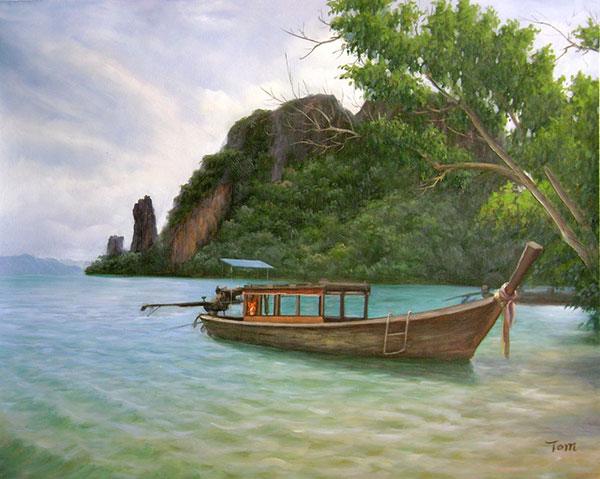 Custom oil painting of a wodden boat in tropics