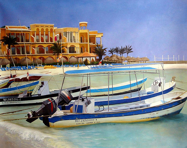 Custom oil painting of a hotel by the sea