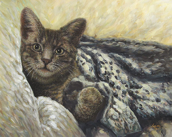 cat portrait in pastel