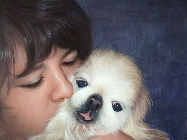 Handmade oil painting of child kissing little puppy