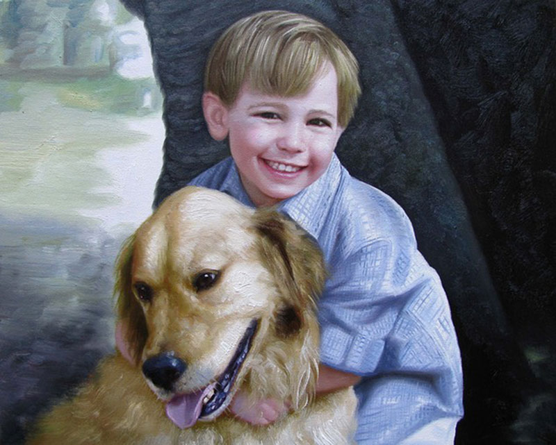 Handmade oil painting of a child hugging retriever