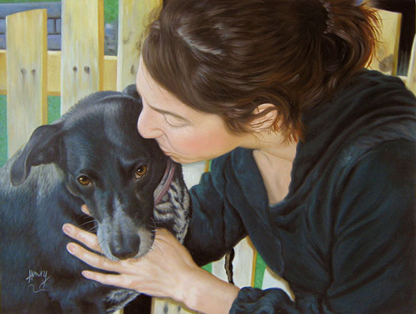 Custom oil painting of a woman kissing black dog