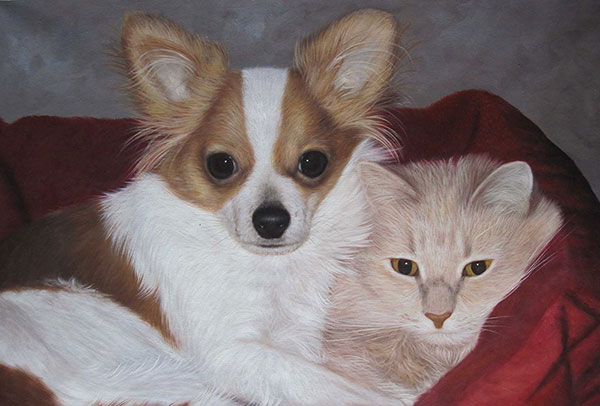 Custom oil handmade painting of a cat and dog