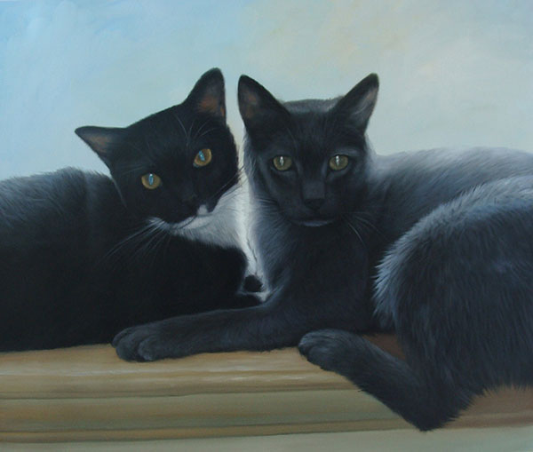 Custom oil handmade painting of two black cats