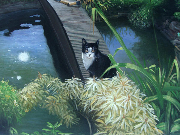 pet painting of cat outdoors by the lake