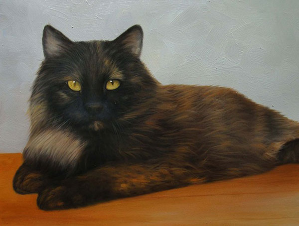 photo to painting black cat laying on wooden floor