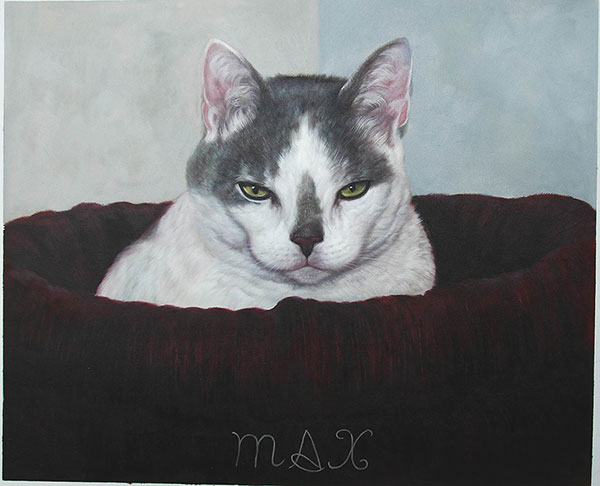 custom oil painting of cat sleeping in bed