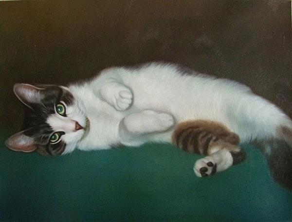 custom oil pet portrait of cat laying down
