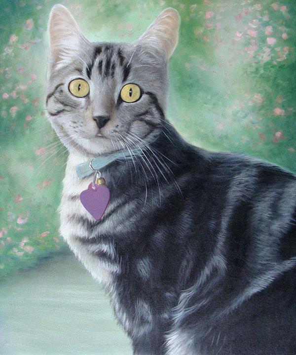 adorable grey kitten oil painting