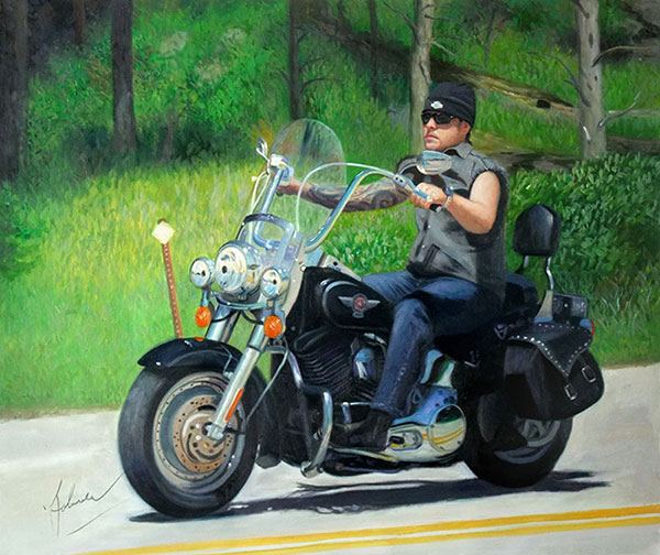 Custom oil handmade painting of an american bike